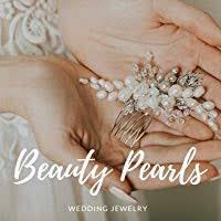 Grey pearls and crystal Bridal Set Silver Hair Comb ... - Amazon.com