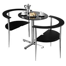 3pc round love dining set black tempered glass table top 2 chairs