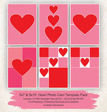 8 X 10 Heart Template 5x7 And 8x10 Photo Collage Template 12 Pack Hearts Card Template Photo Collage Psd File Instant Download Valentines Day Cards Template