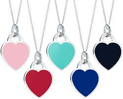 tiffany return toe tiffany heart tag plate navy light blue red pink black t co 925 silver rtt small pendant necklace silver chain sterling silver