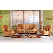 Orange Sofa Living Room Vegas Convertible Sofa Set Rainbow Light Orange Sofa And 2