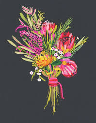print of yn gavin s painted proteaixed flowers on a rich black background print