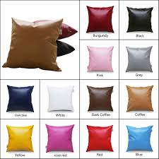 details about pu leather cushion covers solid colors square throw pillowcase sofa home decor