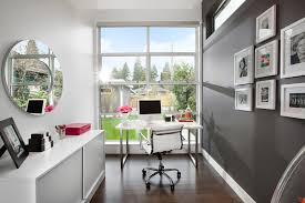 small home office with decorative gray wall