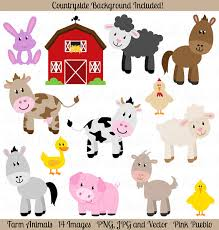 Farm Animals Clipart, Clip Art, Barnyard  Art - Commercial And Personal Use Etsy