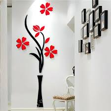 wall flower vases new beautiful design red the plum flower vase acrylic art sticker wall stickers