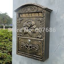 Decorative Post Box Cast Aluminum Flower Mailbox Embossed Trim Bronze Decorative Metal 1
