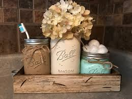 mason jar bathroom set in antique white tray toothbrush holder quart vase short pint cotton ball jars painted distressed counter decor