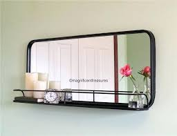 decoration industrial metal pharmacy style rectangular wall mirror with shelf horizontal unbranded long