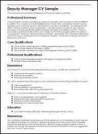 Management Cv Deputy Manager Cv Sample Myperfectcv