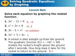 lesson quiz solve each equation by graphing the function 1 3x2 12