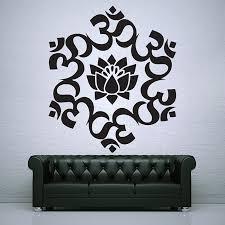 on om symbol wall art with om um lotus circle buddhism symbol vinyl wall art decal