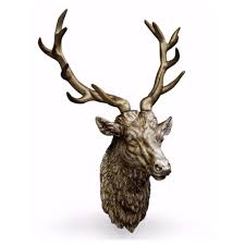 large stag head wall decor antiqued silver
