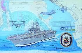 Us Navy Ship Chart Uss America Lha 6 Nautical Chart Art Print Map Us Navy Ship Sailor Veteran Gift Ebay