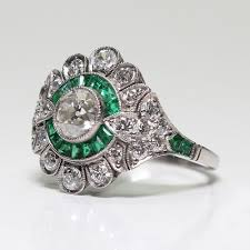 Details About Green Art Deco Large Palace Emerald Jewelry Sterling Silver Diamond Ring Us