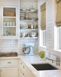 kitchens subway tiled walls two toned cabinets