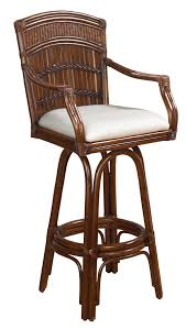 rattan bar stool in antique finish with cushion zoom