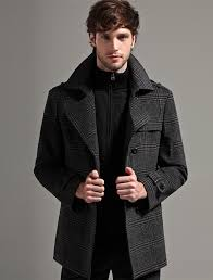 double ted plaid wool pea coat