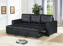 poundex f6530 2 pc daryl ii black faux leather sofa set pull out sleep area