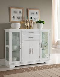 white kitchen storage cabinets. amazon.com - kings brand kitchen storage cabinet buffet with glass doors, white buffets \u0026 sideboards cabinets e