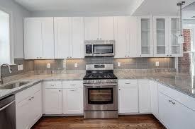 Backsplash Ideas, White Kitchen With Grey Subway Tile Backsplash: amazing  grey kitchen backsplash