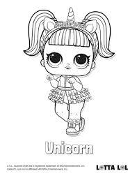 Unicorn Coloring Page Lotta Lol Lol Surprise Series 3 Confetti