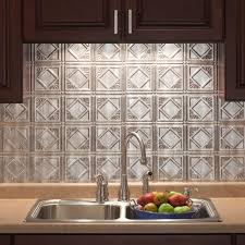 Metal Wall Tiles For Kitchen 18 In X 24 In Traditional 4 Pvc Decorative Backsplash Panel In