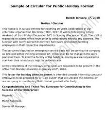 Public Holiday Announcement Mail Notice Memo Format To Staff