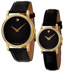 movado men s watches new used luxury vintage movado museum black dial gold black leather mens 2100005 womens 2100006 watch