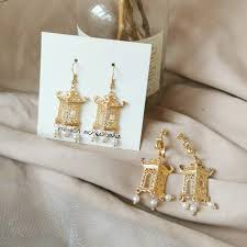 Hollow, palace, <b>ink</b>, pavilion, personality, pearl, fringed earrings ...