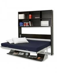 opened horizontal murphy bed desk with vertical shelving