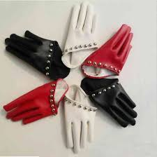 women s fashion rivet gulps half palm pu leather gloves women s club party glove white black red color