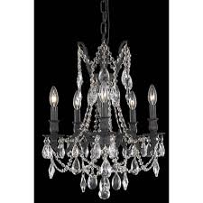 elegant lighting rosalia dark bronze five light chandelier with royal cut crystal