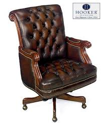 vintage office chair. hooker brown antique leather executive office chair vintage