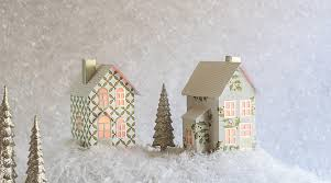 Foldable Houses Hollyberry N Gold Christmas Village Set Of 2 Foldable Houses