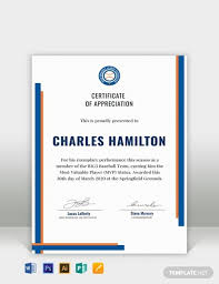 Certificate Of Appreciation Text Free Sports Appreciation Certificate Template Word Psd