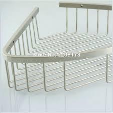 promotion luxury stainless steel brushed nickel hanging shower bathroom floor corner storage rack shelf organiser basket