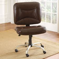 brown leather armless office chair with steel adjustable height base and wheels on brown rug armless office chair wheels