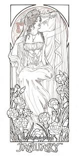 January Muse Coloring Page