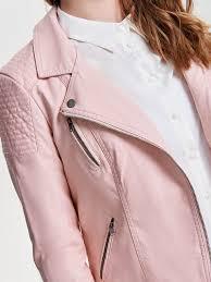 womens fashion pastel strawberry cream biker faux leather jacket pazfgw