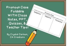 Pronoun Case Subject Object Possessive Foldable Powerpoint Chart And Quiz