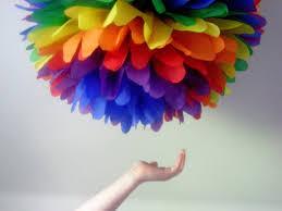 Pom Pom Decorations Rainbow 1 Tissue Paper Pompom Birthday Party Decor