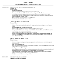 Retail Sales Resume Sales Associate Retail Resume Samples Velvet Jobs 72