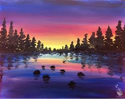 how to paint lake sunset ages 8