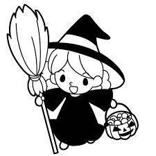 ハロウィンの魔女の仮装をした女の子のイラスト 無料イラスト素材