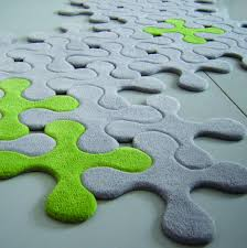 gray grey green modular jigsaw splats modern rug floor covering