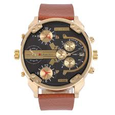 online get cheap mens used watches aliexpress com alibaba group outad men pu leather strap watch water resistant calendar wristwatch stainless steel round gold dial relogios