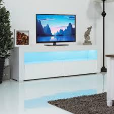 Giantex Woonkamer Tv Stand Unit Kast Console Meubels Met Led Planken