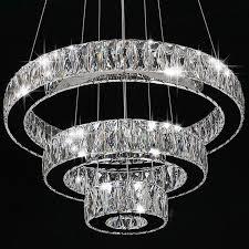 modern crystal round ring led pendant