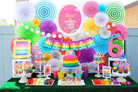 dessert table from a troll tastic trolls birthday party on kara s party ideas